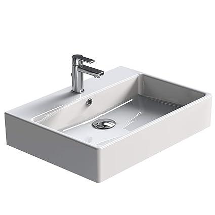 Aqua Bagno Waschbecken Modernes Design Weisser Waschtisch Aus Keramik Hochwertiger Mobelwaschtisch Fur Das Badezimmer 600x500x140 Mm