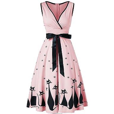 Vestido para Mujeres Ocio Señoras Verano Falda Vestido de Moda Dress Fiesta de Baile Vestido de Noche Escote en V,Boda,sin Manga Gato Imprimir: Amazon.es: ...