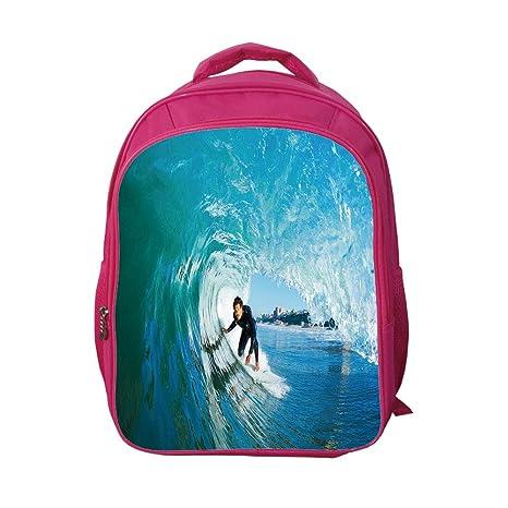 1d702e649ff2 iPrint School Bags Kid's Backpacks Customizable,Wave,Extreme Sportsman  Surfer Inside Barreled Wave Fun