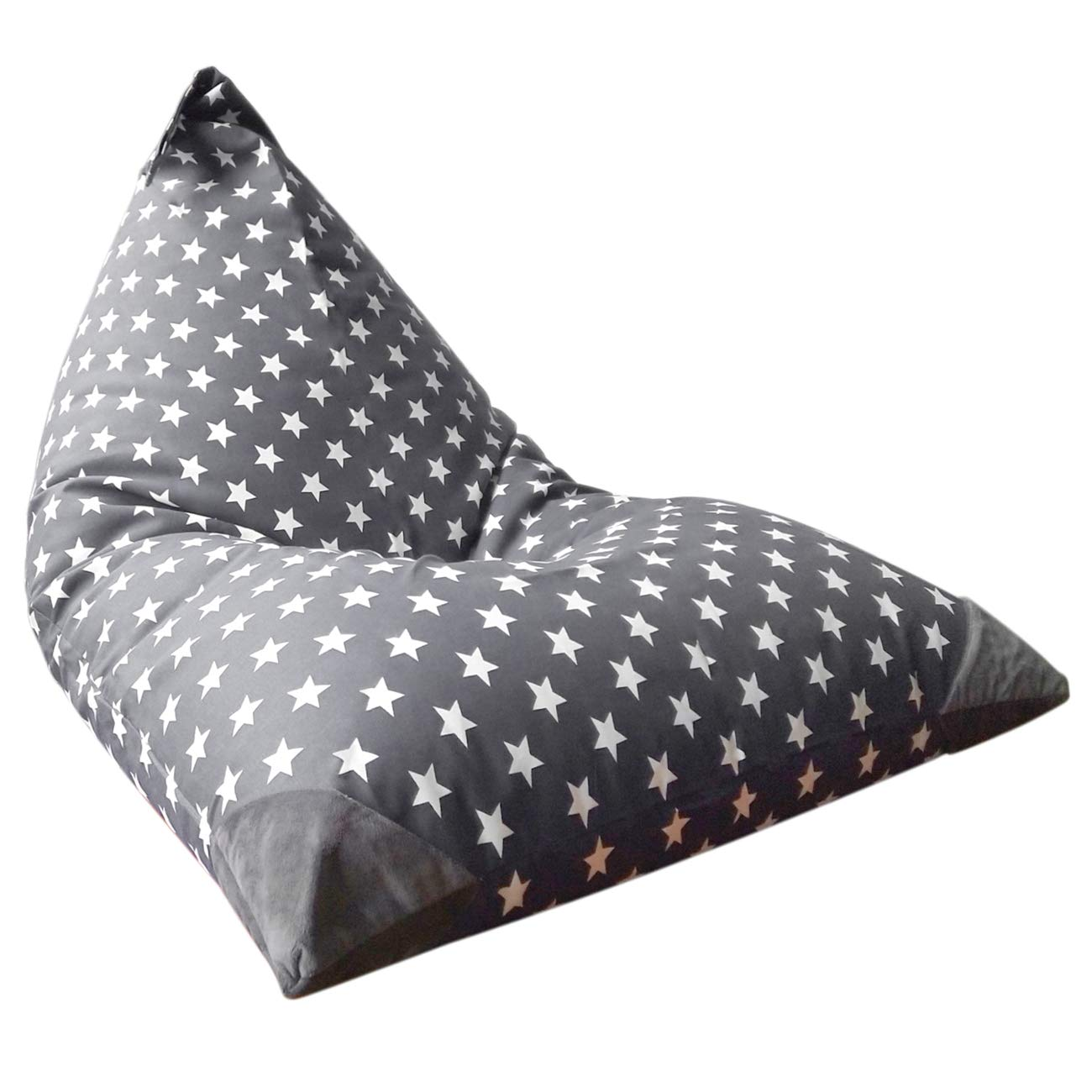 Stuffed Animal Storage Bean Bag Chair for Kids and Adults. Premium Canvas Stuffie Seat - Cover ONLY (Grey with White Stars 200L/52 Gal)