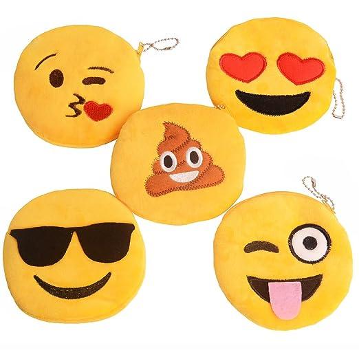 09922c69517e Cute Emoji Coin Purse Soft Plush Small Pouch Mini Smile wallet Womens Card  Holder Clutch Handbag 5pacs