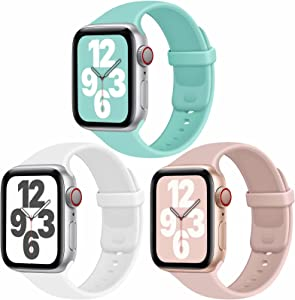 JuQBanke Sport Bands Compatible with Apple Watch Band 38mm 42mm 40mm 44mm, Soft Silicone Sport Band Replacement Strap Compatible with iWatch Series SE 6 5 4 3 2 1 Women Men (F 42mm 44mm)