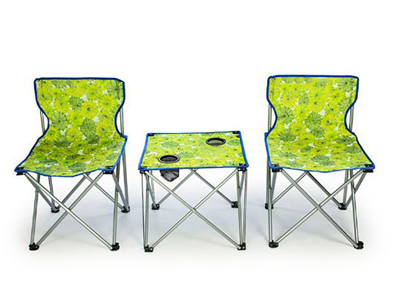 KOKR Portable Folding Gartenmöbel Campinggarnitur, 1 x Campingmöbel Set Klapptisch + 2 x Campingstühle