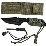 Survivor HK-106320-A Fixed Blade Outdoor Knife, Black Tanto Blade, Green Cord-Wrapped Handle, 7-Inch Overall