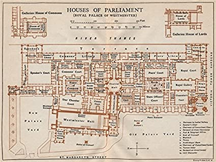 Houses Of Parliament Map HOUSES OF PARLIAMENT (PALACE OF WESTMINSTER) . Vintage map plan