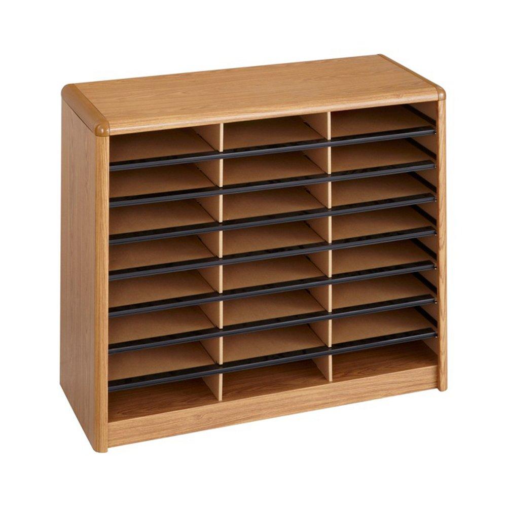Safco Office Value Sorter Literature Organizer, 24 Compartment - Medium Oak