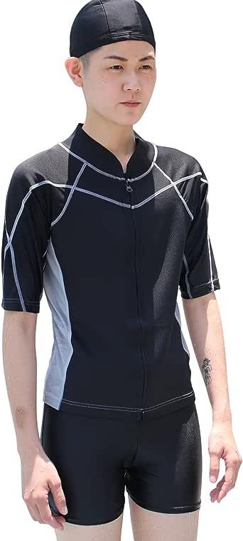 Amazon.com: Heroine Zipper Short-Sleeve Swim Chest Binder