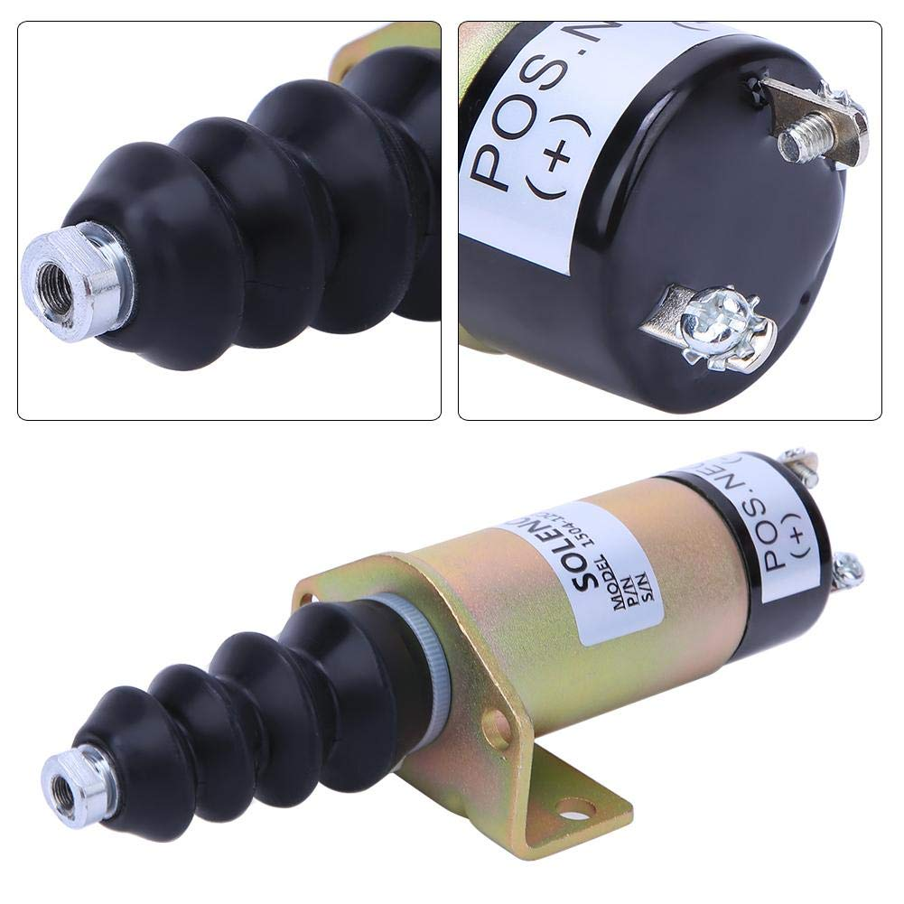 High Quality Steel Shell Engine Shut Off Stop Solenoid Replacement Kit Electric Solenoid Valve Control Switch Accessories for 12V 1504-12C2U1B1S1 Fuel Shutoff Solenoid Valve