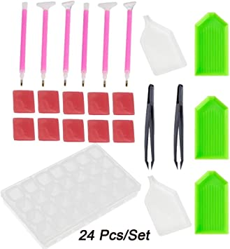 10 Sets Tweezers Plastic Dishes Tools Set for DIY 5D Diamond Picture Embroidery