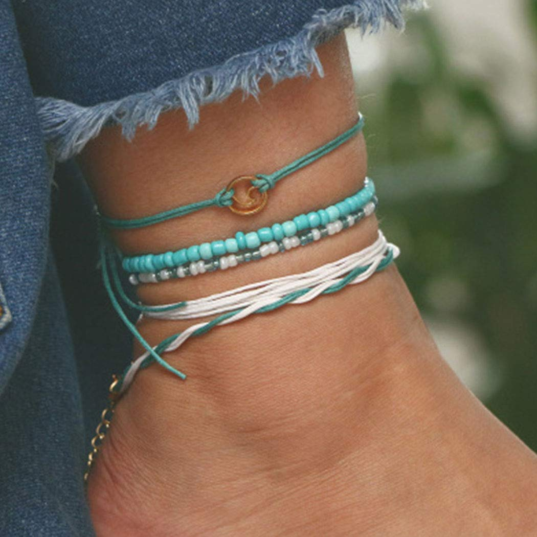 Gortin Boho Turquoise Anklets Green Weave Layered Ankle Bracelets Beaded Anklets Ajustable Beach Foot Jewelry for Women and Girls Pack of 5