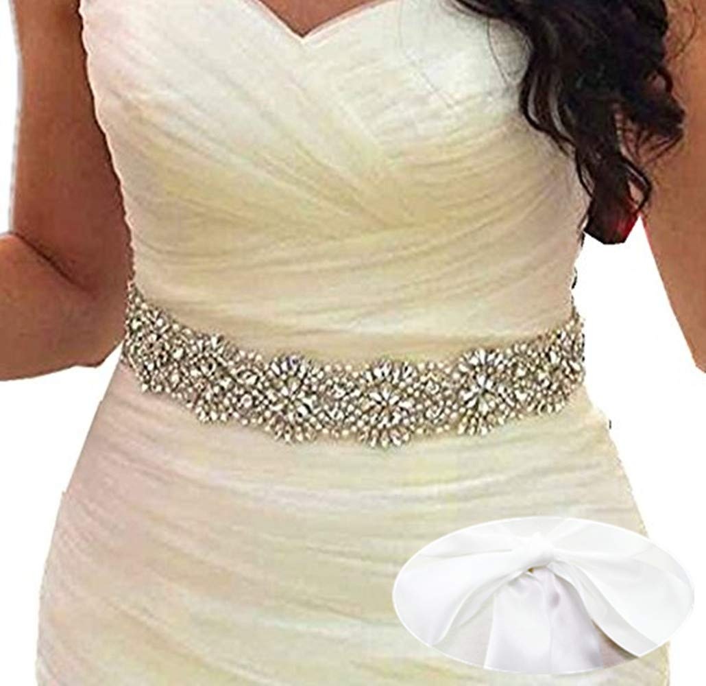 SoarDream Wedding Belt, Bridal Belts And Sashes, Bridal Sash, white.
