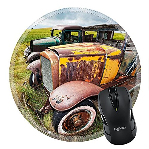 MSD Natural Rubber Mousepad Round Mouse Pad/Mat: 7623890 Vintage car and truck left to rust in a farmer s field