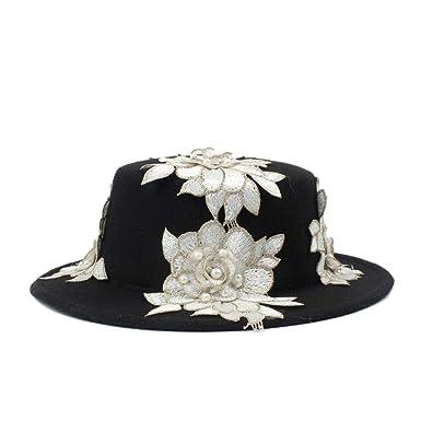 21524038666 Women s Black Wool Wide Brim Bowler Trilby Fedora Hat with White Flower  Plain Flat Lady Felt Hats Vintage Keep Warm (Color   Black