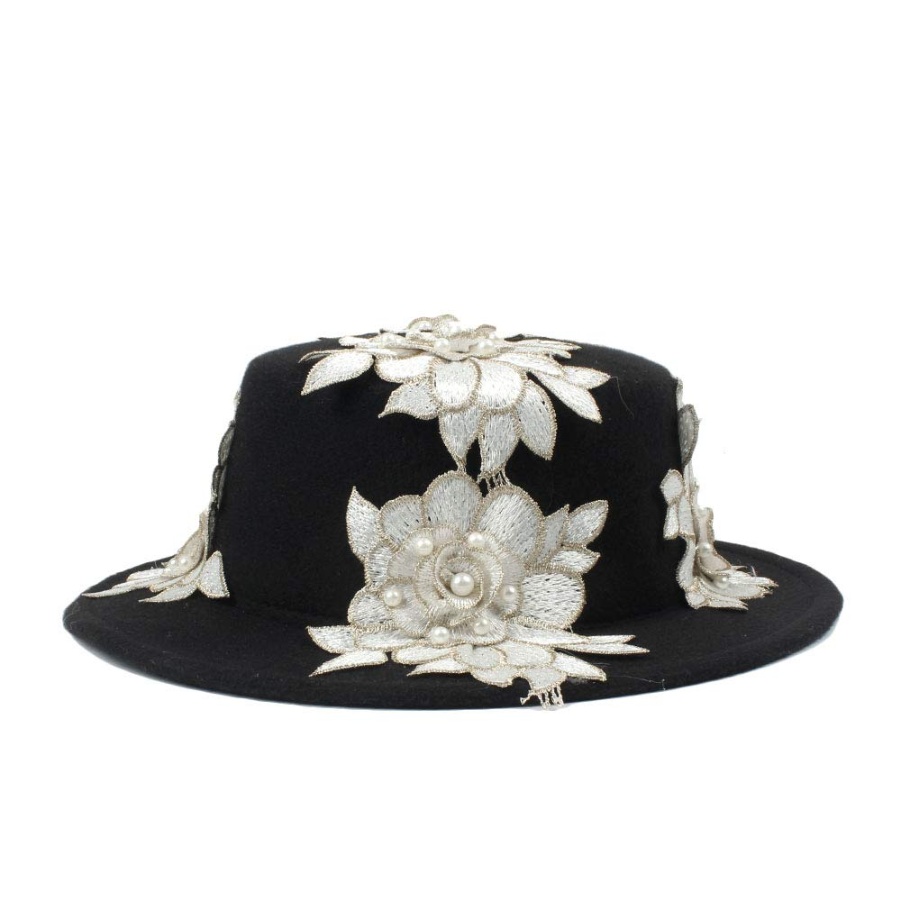 LL Womens Black Wool Wide Brim Bowler Trilby Fedora Hat with White Flower Plain Flat Lady Felt Hats Vintage
