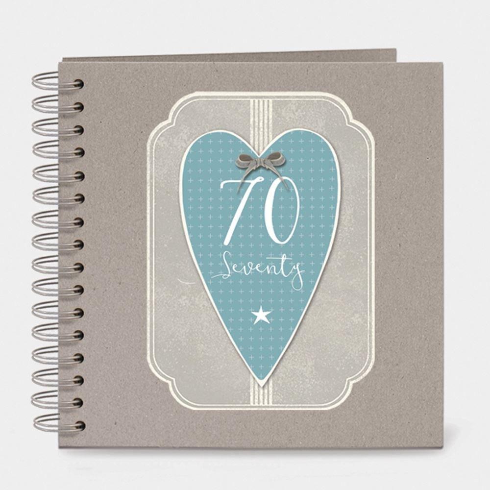 East of India Italic Heart Keepsake Memory Book 70 Birthday Seventy