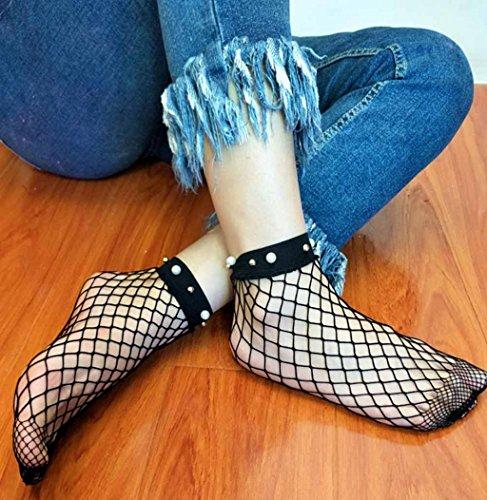 Sagton Women Mesh Lace Fish Net Short Socks Chic Pearl Ankle Socks Crew Socks Black TmMBVfq