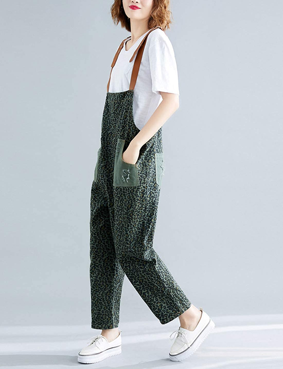 Gihuo Womens Leopard Print Ripped Denim Overall Wide Leg Jumpsuit Rompers with Pockets