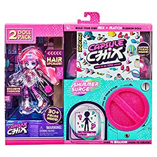 Capsule Chix Shimmer Surge 2 Pack, 4.5 inch Small Doll with Capsule Machine Unboxing and Mix and Match Fashions and Accessories, 59229
