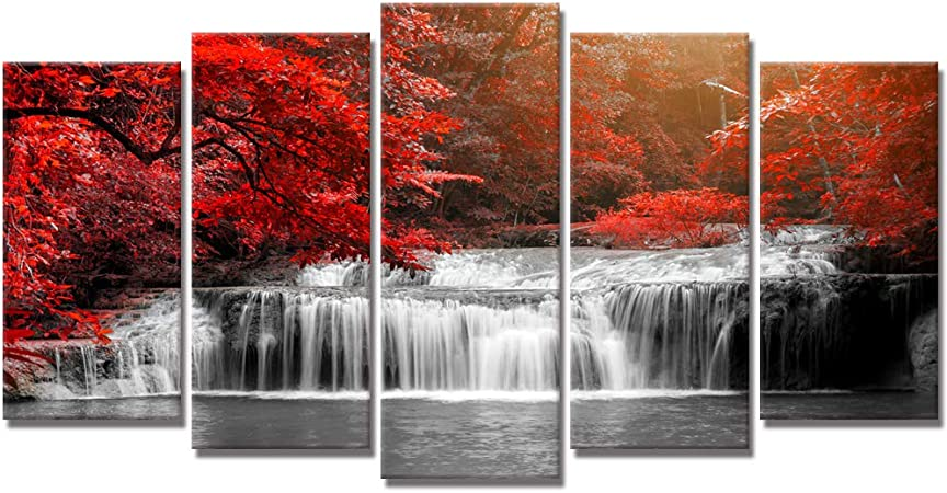 Amazon Com Welmeco 5 Pieces Waterfall In Autumn Red Forest Canvas Wall Art Tree Nature Scenery Canvas Prints Gallery Wrapped Ready To Hang For Living Room Office Posters Prints