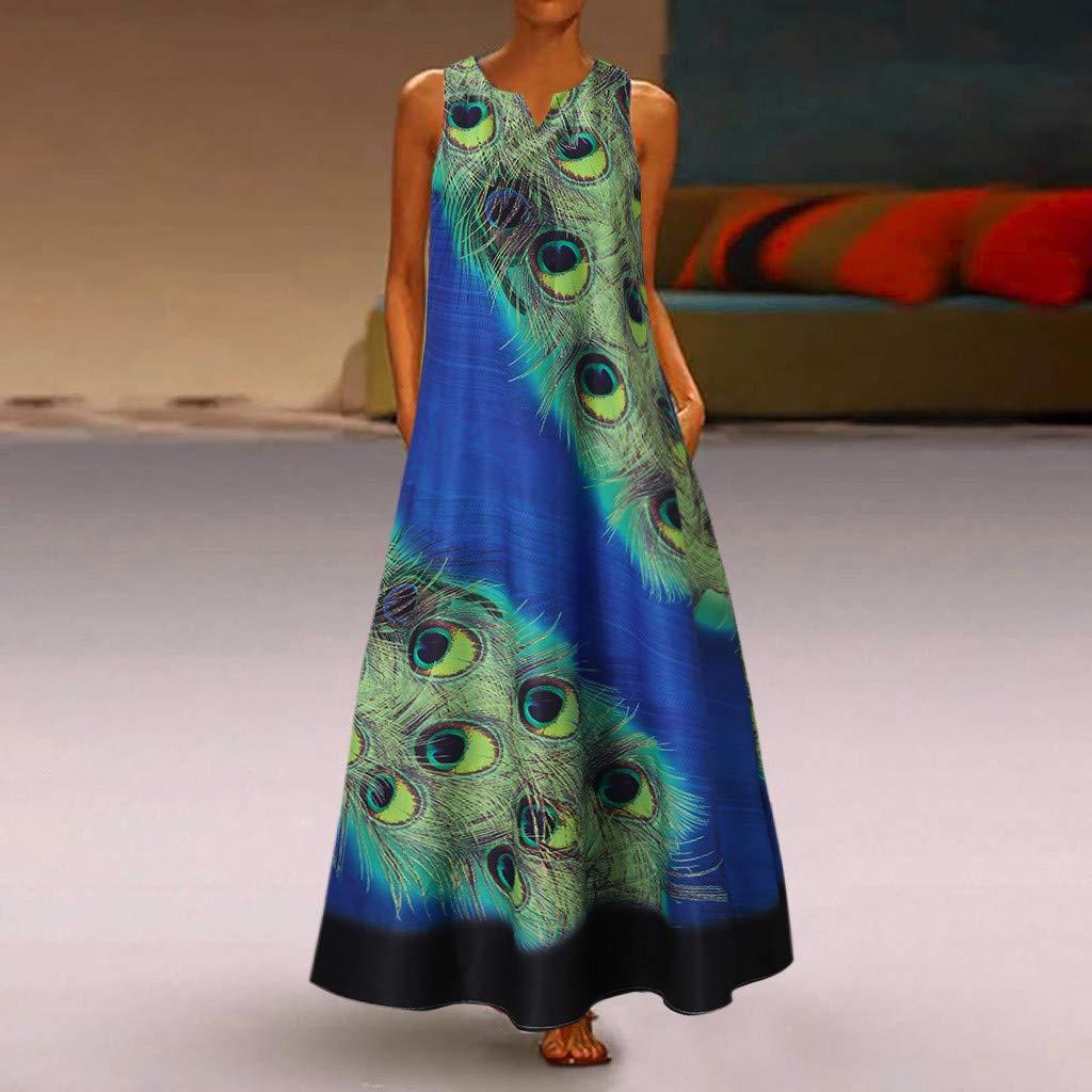 Witspace Women Sleeveless Peacock Print Long Maxi Dress Bohemia Summer Beach Shirt Dress