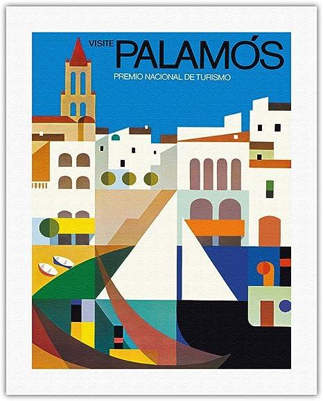 Pacifica Island Art - Palamós, España - Póster de Vuelta al Mundo de Ernest Moradell c.1967 - Impresión en Lienzo - 51 x 66 cm: Amazon.es: Hogar