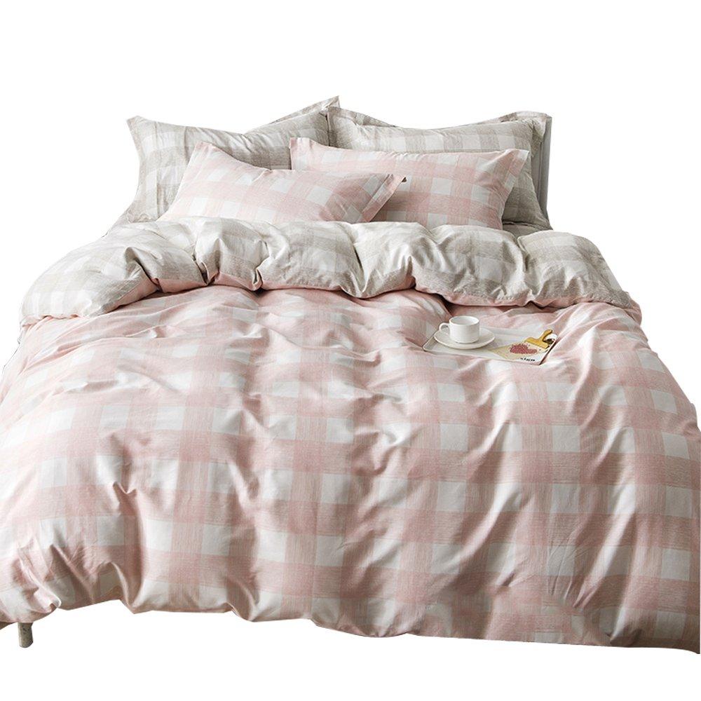 orusa pink kids girls bedding sets twin for teen white grey gingham plaid twin ebay. Black Bedroom Furniture Sets. Home Design Ideas