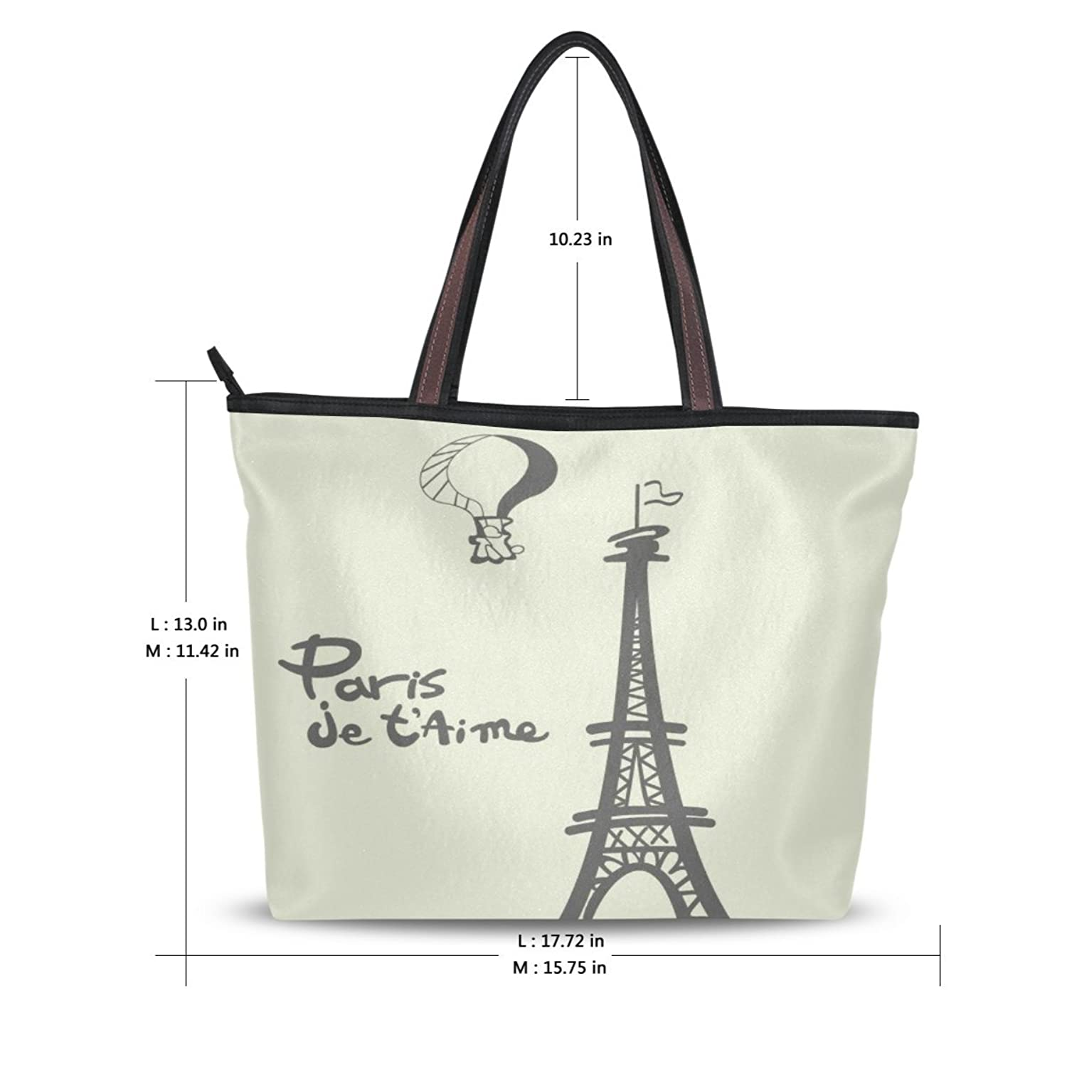 Women's New Fashion Design Beige Handbags Retro Eiffel Tower Shoulder Bags Personalized Tote Bags