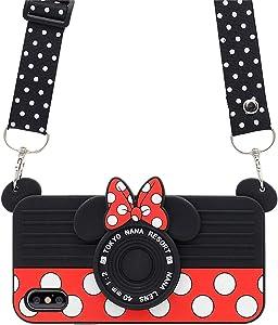 iPhone Xs Max Case Cute iPhone Xs Max Case, iPhone Xs Max Cute Case, 3D Cartoon Minnie Mouse Camera Design Cute Cases for Teens Girls Women Soft Silicone Cute Phone Cases iPhone Xs Max 6.5
