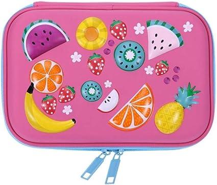 1 estuche para lápices de goma EVA con cierre de frutas y dibujos animados para estudiantes, gran capacidad, para guardar artículos de papelería para niñas, color rosa: Amazon.es: Oficina y papelería