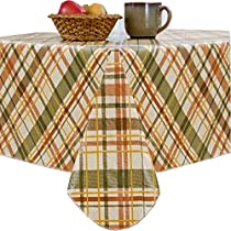 """Harvest Plaid Indoor/Outdoor Flannel Backed Vinyl Tablecloth - 60"""" x 120"""" Oblong"""