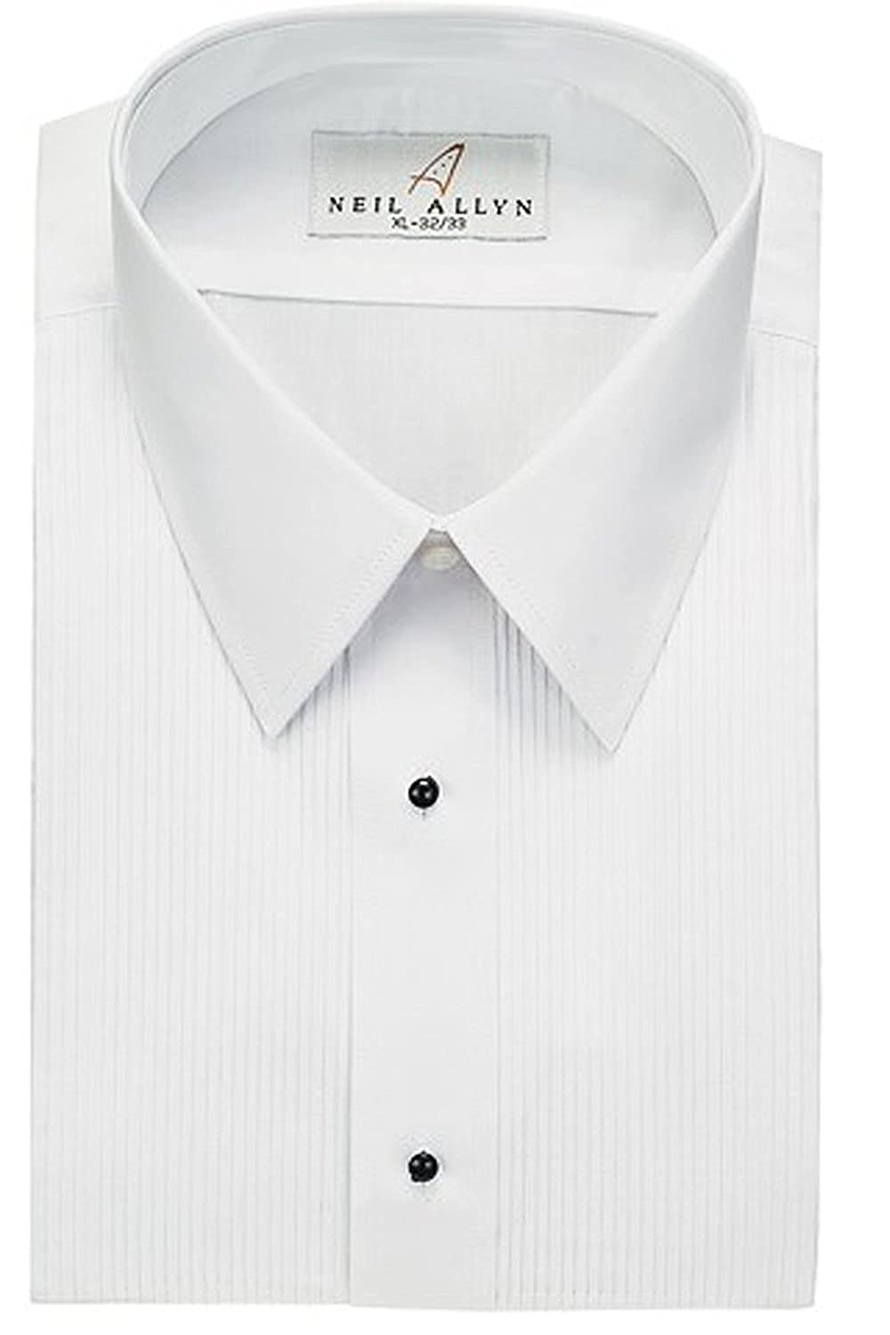 Neil Allyn Men's Tuxedo Shirt Poly/Cotton Laydown Collar 1/8 Inch Pleat
