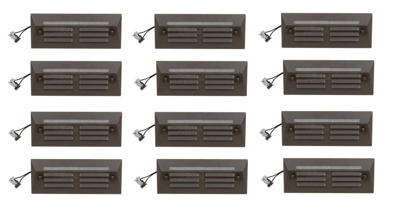 12 Pack Malibu / Proscapes 8608-0408-12 LED Full Brick Step Deck Lights, .3 watt, Low Voltage in Aged Brass Finish BY MALIBU DISTRIBUTION