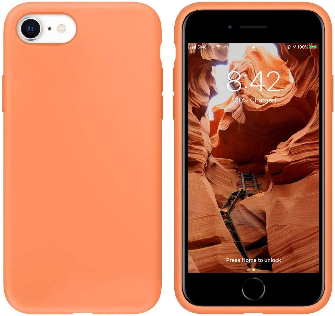 "IceSword iPhone SE 2020 Silicone Case Light Orange [Upgraded 2nd Generation], iPhone 7/8 (4.7""), Liquid Silicone Gel Rubber, Full Body Drop Protection (4.7"") iPhone 7/8/iPhone SE 2020 - Light Orange"
