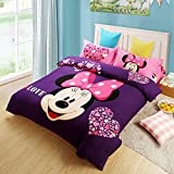 CASA Children 100% Cotton Mickey Series Minnie Duvet cover and Pillow cases and Fitted Sheet,Duvet cover set,4 Pieces,Full