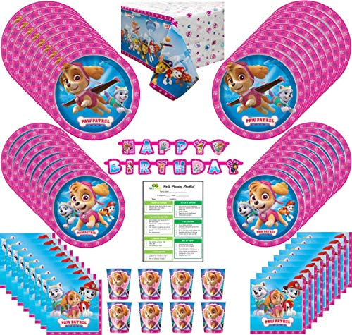 Paw Patrol Girl Birthday Party Supplies Pack: Big Lunch and Small Dessert Plates, Cups, Napkins, Table Cover, Happy Birthday Banner - Kit for 16 Guests -
