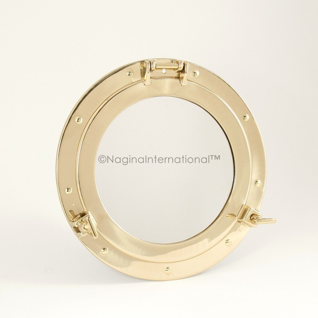 20'' Deluxe Nautical Brass Polished Porthole Mirror | Pirate's Boat Decorative Mirror | Captain's Maritime Beach Home Decor & Gifts | Nagina International