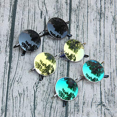 Verde Clásico Redondo Marco Lente Gafas Moda Plateado AMZTM Sol De Polarizadas RqwzxEd1