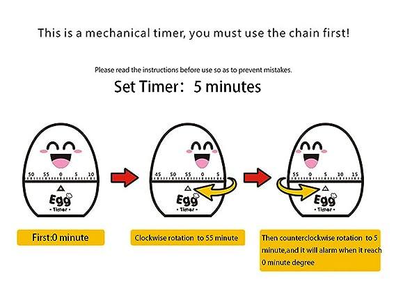 60 Minutes White Funny Mechanical Home Kitchen Egg Timer