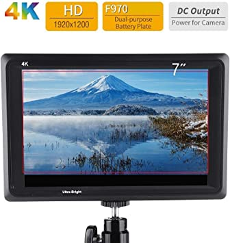 Serounder 7 IPS Full HD 1920 x 1200 4K Camera Monitor Support HDMI Input//Output for Most DSLR Cameras with a Detachable Shade Flexible Power Supply