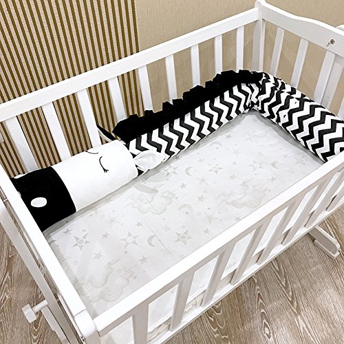(Crib Bumper Cot Protector 3D Cartoon Animal Head Guard Bumper Nursery Bedding Bumper Inner Protection for Crib(Black-White)