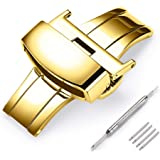 Stainless Steel Deployment Clasp Fasten Gold/Glossy Black/Silver/Rose Gold Watch Band Buckle Color & Width (14mm, 16mm, 18mm,