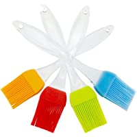 iNeibo Kitchen Silicone Basting Pastry & BBQ Brush Set- Flexible, Durable Brush & Crystal Handle - Set of 4PCS, Varying Bright Color - Best Kitchen Gadget