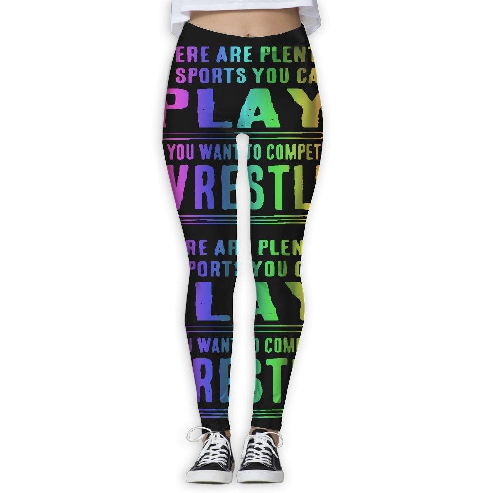 WomensPowerYogaPants Funny Wrestling Ladies Yoga Pants Fitness Power Flex Leggings Digital Printed by WomensPowerYogaPants