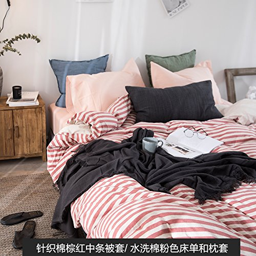 Hot Kexinfan Quilt Cover Washed Cotton Four-Piece Set Cotton Cotton Cotton Knit Cotton Bedding Sheets Quilt Bed, Bed, B, 1.2M (4 Feet) Bed hot sale