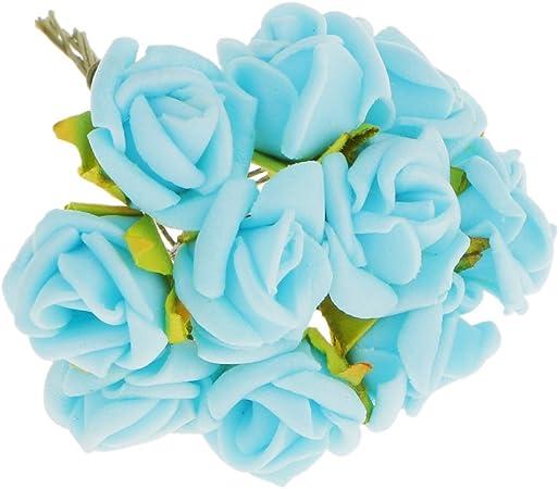 Bouquet Sposa Azzurro.Magideal 100pz Mini Artificiali Rose Fiori Bouquet Sposa Di