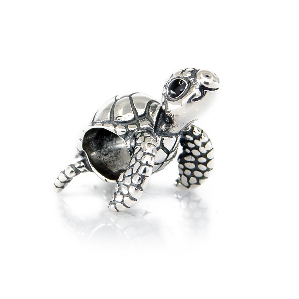 Cute Turtle Sterling Silver Charm Bead S925, Cute Tortoise Sea Animal Silver Charm Bead Pendant, Silver Ocean Summer Charm, Pandora compatible Charm Jewellery