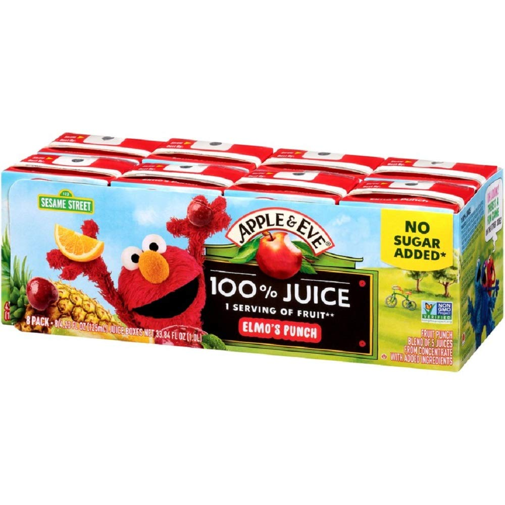 Apple & Eve Sesame Street Elmo's Punch, 4.23 Fluid-oz, 8 Count, Pack of 5
