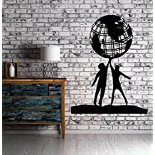 Large Wall Vinyl Sticker Decal People World Friendship Earth Globe Planet Peace (n022) Purple
