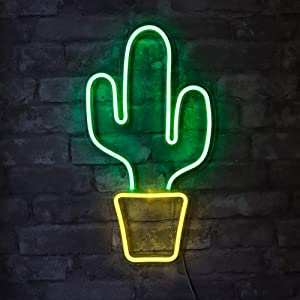 "Isaac Jacobs 19"" x 10"" inch LED Neon Green Cactus with Yellow Planter Wall Sign for Cool Light, Wall Art, Bedroom Decorations, Home Accessories, Party, and Holiday Décor: Powered by USB Wire (Cactus)"