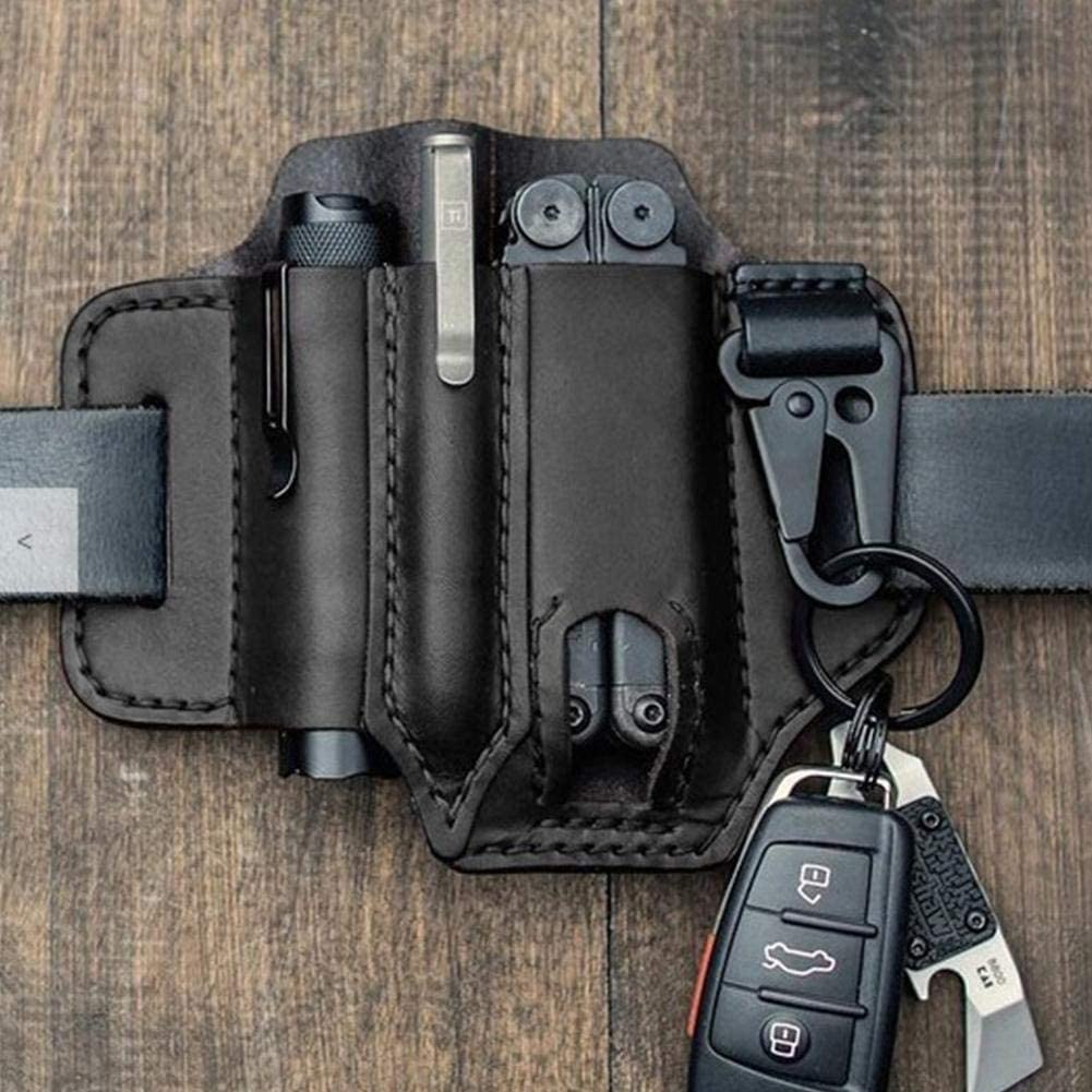 Cuero de alta calidad Black Organizador de bolsillo EDC con funda de cuero multiherramienta con porta llaves para cintur/ón y funda de herramienta m/últiple con funda para linterna